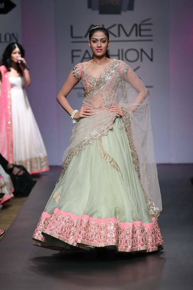 Anushree Reddy Lakme Fashion Week Summer Resort 2014 mint green and pink indian wedding lehngha #lakmefashionweek