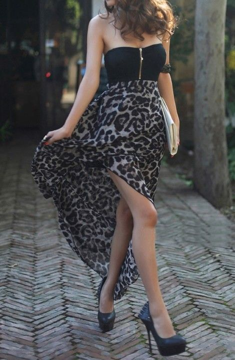I Love Saving Cash on Women's Fashion • Buy Fashion Clothing – Leopard Chiffon Dress – Casual Dresses – Dresses