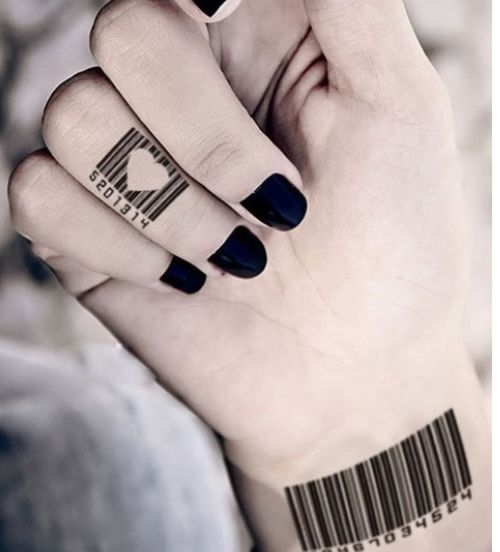 Bar Code With Heart Tattoo
