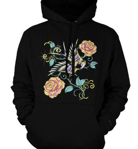 Swallow and Rose with Thorns Mens Sweatshirt Old School Tattoo Style Design Pullover Hoodie XX-Large Black