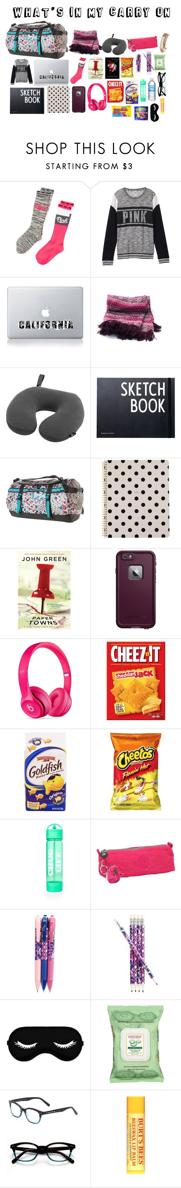 """what's in my carry on bag for a long flight"" by jessica-2810 on Polyvore featuring Victoria's Secret, Vinyl Revolution, Eagle Creek, Design Letters, The North Face, Kate Spade, LifeProof, Beats by Dr. Dre, Kipling and Vera Bradley"