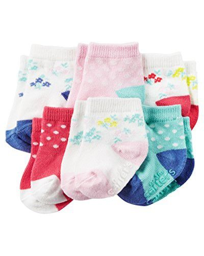 Carter's Baby Girls Crew Socks (6 Pack), Dots/Pink/Blue/White, 0-3 Months