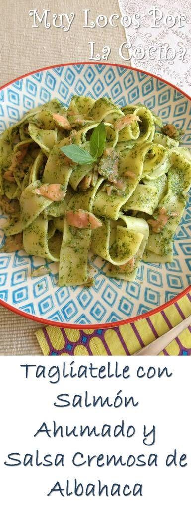 Tagliatelle con Salmón Ahumado y Salsa Cremosa de Albahaca: Una receta de pasta fácil, rápida y sabrosa :-) Puedes encontrarla en www.muylocosporlacocina.com.