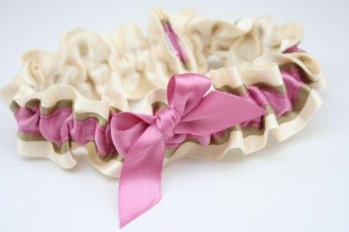 pink and metallic wedding garter
