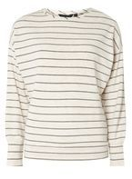 Womens Grey and Ivory Striped Brushed Batwing Top- Grey/Cream