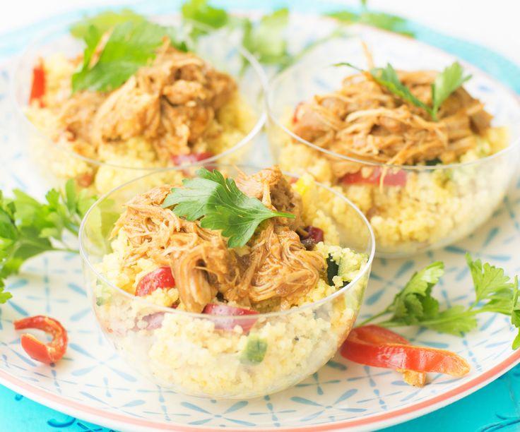 Pulled chicken met gekruide couscous