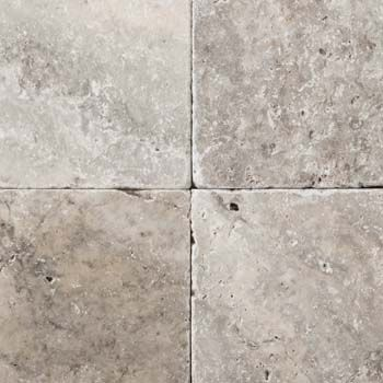 Emser-Natural Stone-Travertine - Ancient tumbled - silver  (Fireplace surround/Kitchen Back-splash) 3x6   (master shower floor) 4x4