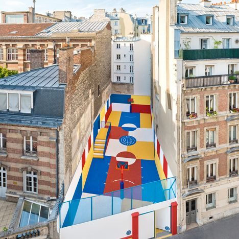 An incredibly colourful basketball court in Paris created by Ill-Studio in collaboration with French fashion brand Pigalle