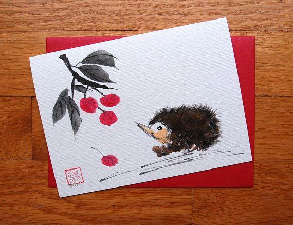 Hedgehog and Lychee Fruit Chinese Brush by KelliMcNicholsArt