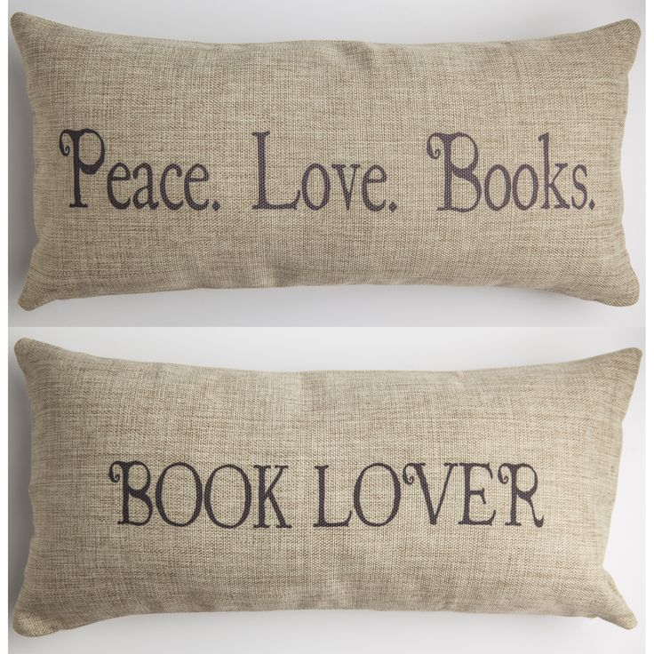 book lover tan pillow
