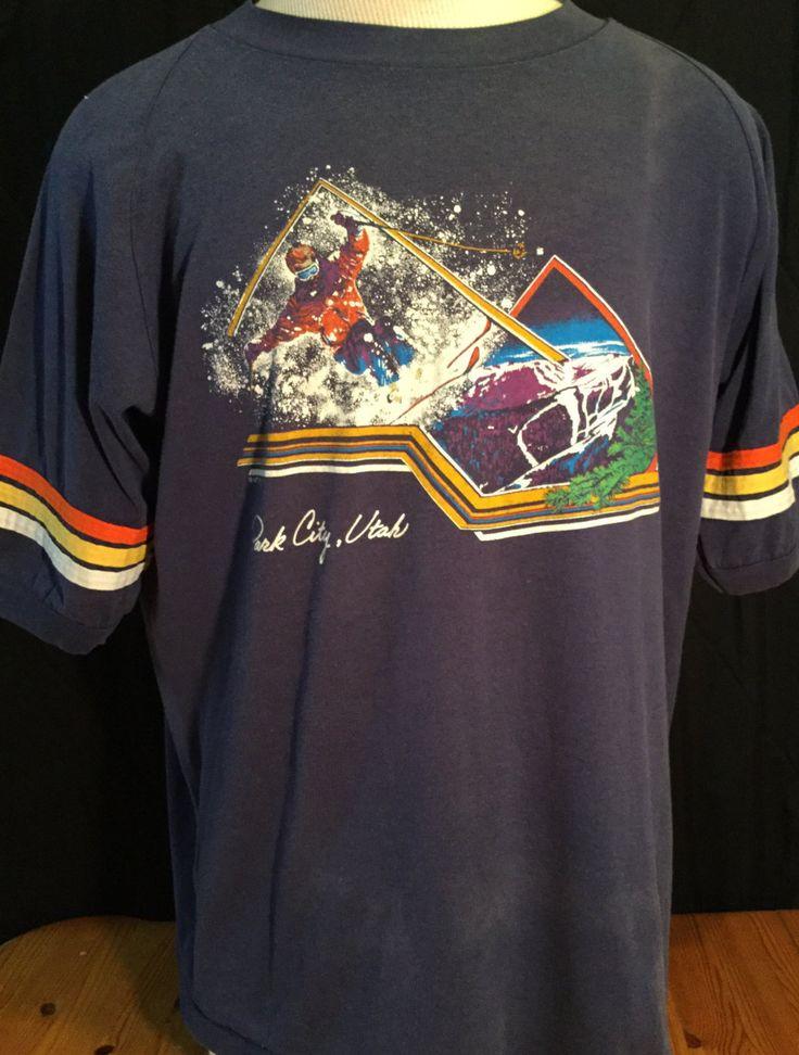 Vintage 1980's Park City Utah Ski Shirt Raglan T-Shirt 50/50 by 413productions on Etsy