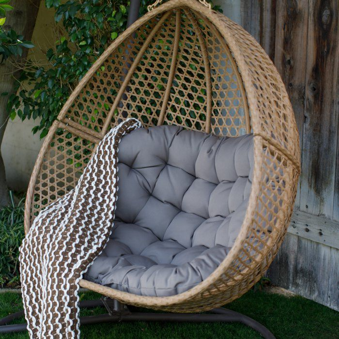 Belham Living Cayman Resin Wicker Hanging Double Egg Chair ...