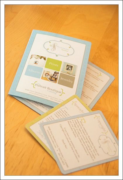 """The cards include a blank """"Thank You"""" card where I can hand write a message, a """"Portrait Care Tips"""" card that is included with any enlargements, a """"Spread the Love"""" card that talks about our referral program, and a """"Copyright Info"""" card."""