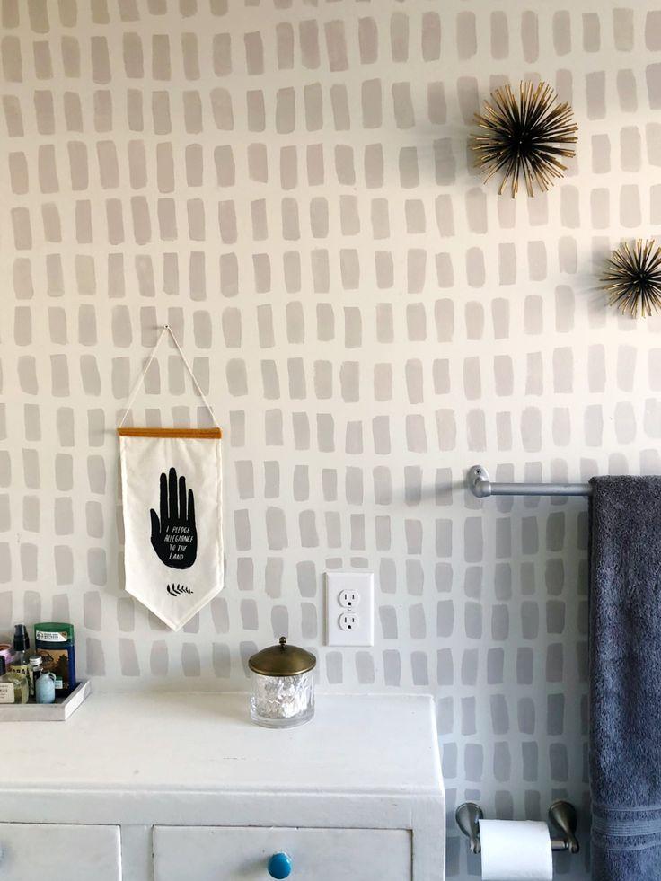 Hand painted, Brush Stroke Wallpaper DIY in 2020   Diy ...