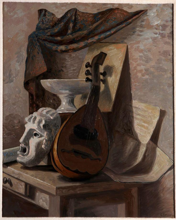 Gino Severini (Italian, 1883-1966), Natura morta (Tenda e mandolino) [Still Life (Curtain and Mandolin)], c.1929. Oil on canvas, 65 x 50 cm.