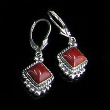 QVC .925 Sterling Silver Natural Deep Red Coral Leverback Earrings