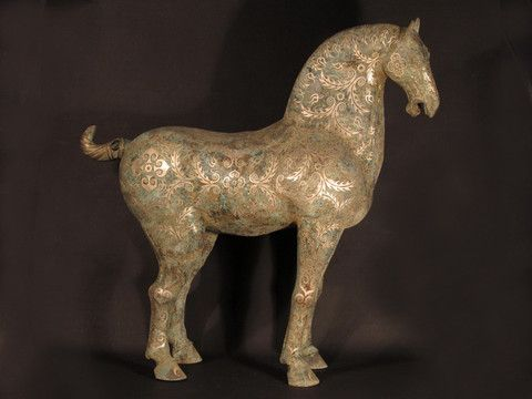 Reproduction Bronze Tang Horse With Silver Inlay - C0053