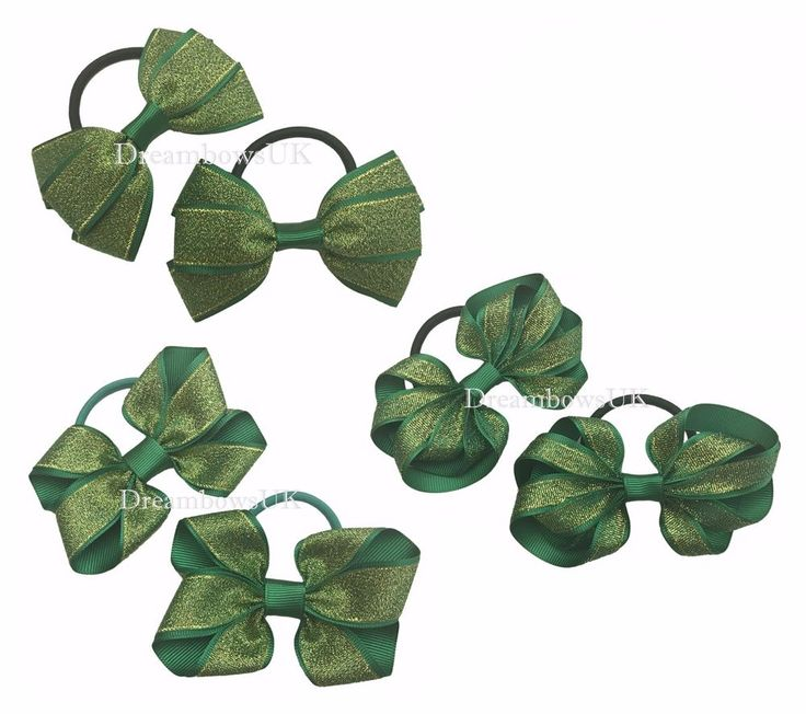 Green glitter hair bows, thick hair bobbles, Christmas hair accessories/bows #DreambowsUK