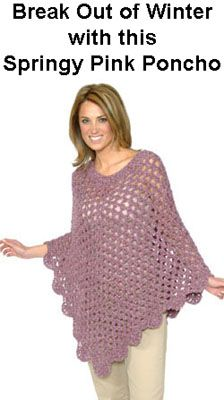 Poncho Pattern ~ looks like similar pattern to the one we have for the little girls. looks nice with the normal weight yarn.