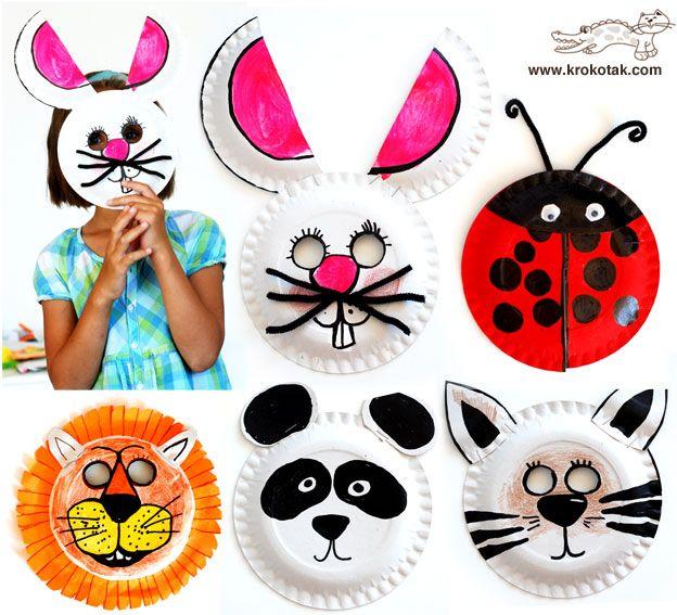 маски за деца от хартиени чинийки