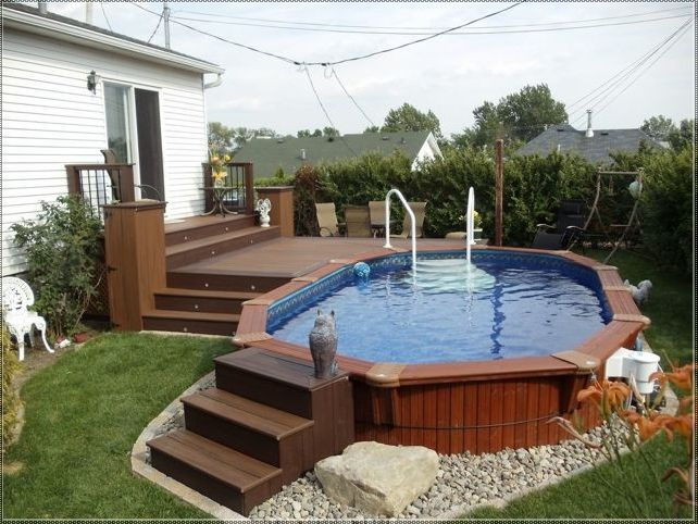 50 best small above ground pools images on pinterest for Above ground pool decks for small yards