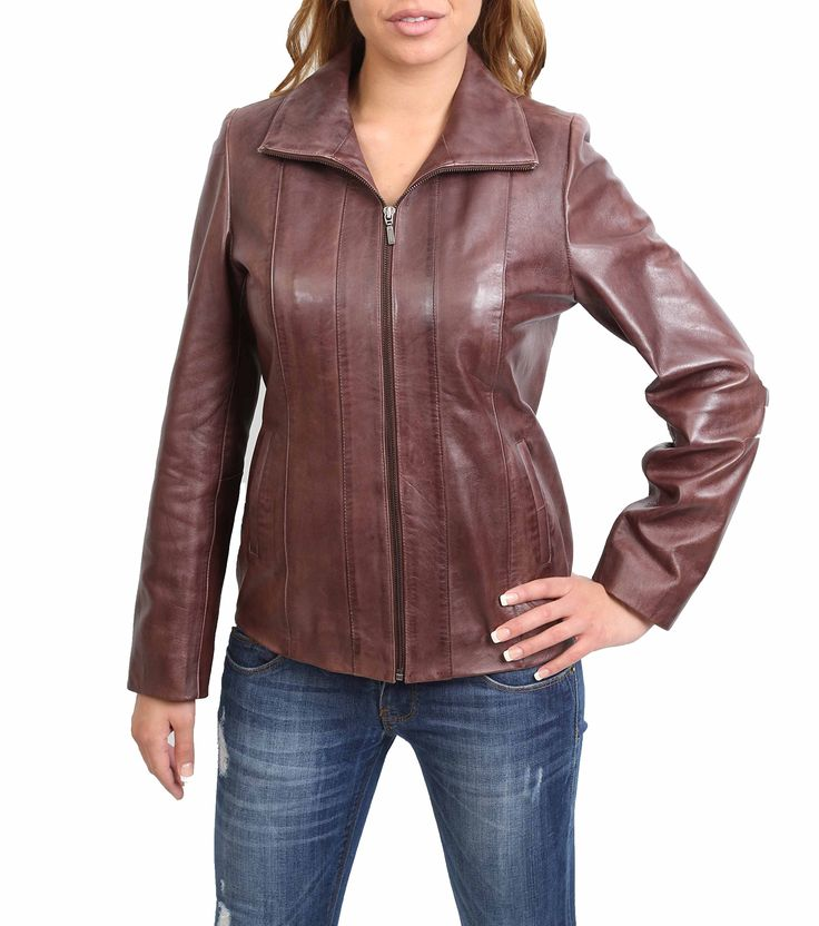 Womens Classic Zip Up Real Leather Semi Fitted Lambskin Jacket Julia Brown (XX-Large)