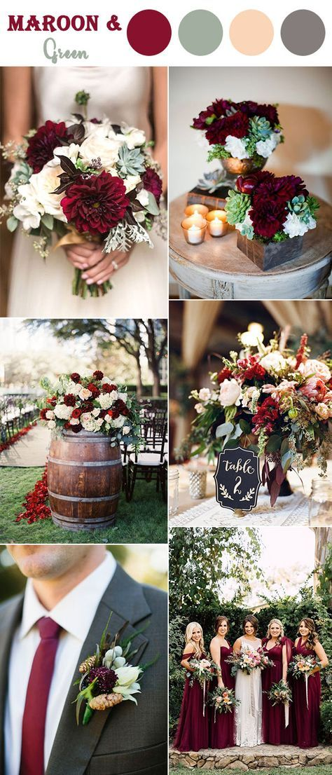 maroon,soft green and blush fall wedding color ideas for autumn season