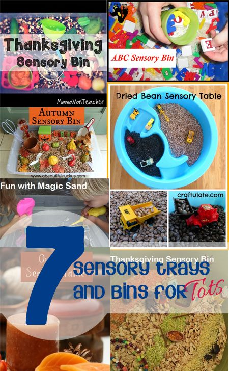 7 Simple Sensory Bin ideas: Exploring the senses is a fantastic way for tots to investigate the world around them and we can help support that by creating sensory bins and trays for them.