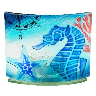 NA 57004 - Portacandela curvo in vetro con Cavalluccio marino - L 11,5 cm
