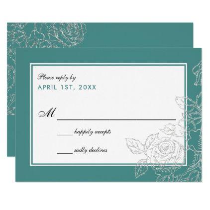 Silver Vintage Rose Teal Frame Wedding Reply Card - elegant gifts gift ideas custom presents