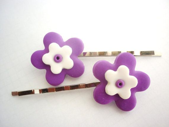 Flower shaped hair pins bobby pins colored Hair by JustFingerPrint, $7.00