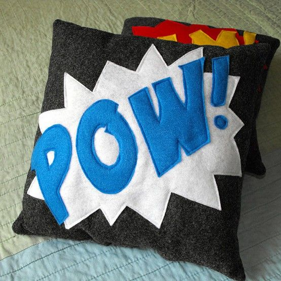 smart pillows. would also like them with thought bubbles etc. superhero decorations bedroom - Google Search
