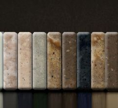 Hi-Macs Marmo series embodies the organic look of natural stone, with a captivating combination of veined patterns and translucent chips.
