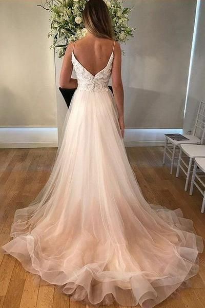 ef82385da9d Lace Bodice V-neck Casual Wedding Dresses Tulle Skirt in 2019 ...