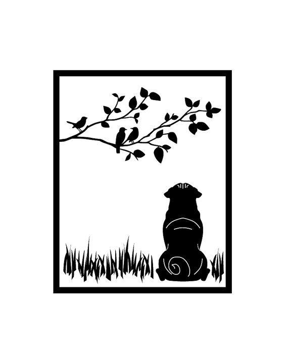 "pug silhouette | 11"" x 14"" Pug Silhouette Framed"