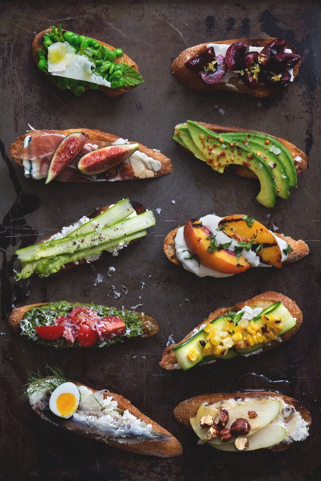 Toast toppers for every taste. Grilled peach, ricotta, egg, avocado...