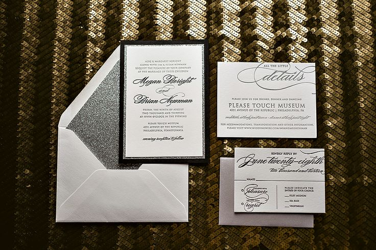Glitter wedding invitations, black tie wedding, black and white wedding, silver glitter wedding invitations