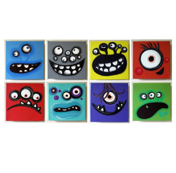 mANy mONsTERs - set of 6x6 original paintings on canvas, monster paintings, monster room decor, monster wall art