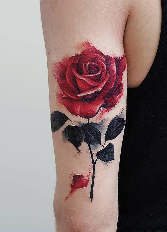 Beautiful Watercolor Rose Tattoo C Tattoo Studio Roza Sake Tattoo Crew Rose Tattoos For Women Trendy Tattoos Rose Tattoo Design