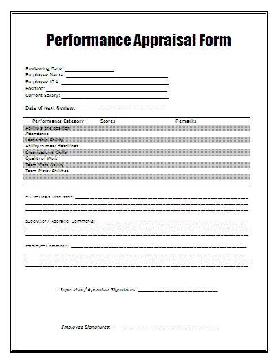 Sample Performance Appraisal Form  My Board