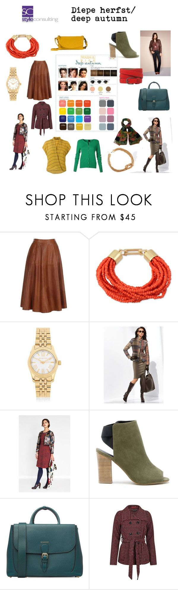 """Diepe herfst/ Deep autumn color type"" by roorda ❤ liked on Polyvore featuring Kenneth Cole, Michael Kors, Jennifer Lopez, Sole Society and Burberry"