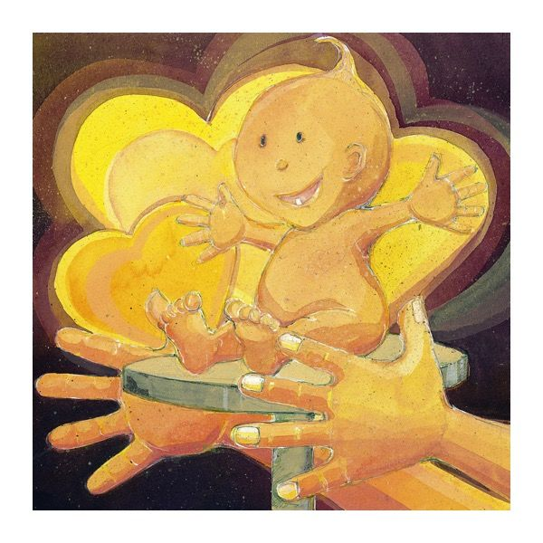 """""""You are created by God!"""" Children books illustration, liquid acrylic"""