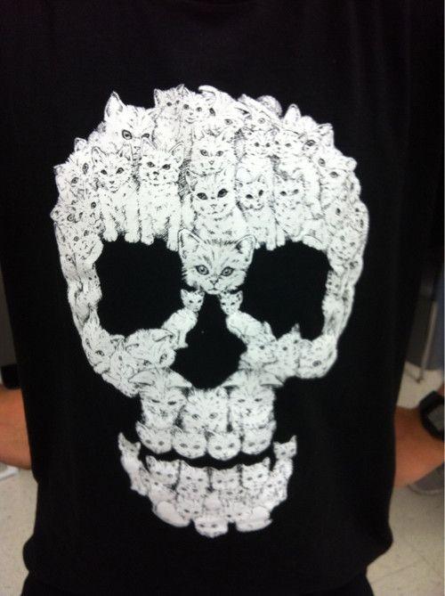 Where can I get one?Kitty Skull, The Artists, Shirts, Honey Badger, A Tattoo, Kittens, Skull Art, Prints, Cat Skull