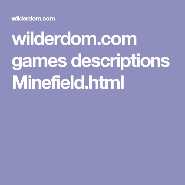 wilderdom.com games descriptions Minefield.html