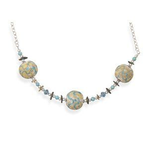 Lampwork Glass, Abalone Shell Chips and Turquoise Necklace West Coast Jewelry. $29.95. Save 50%!