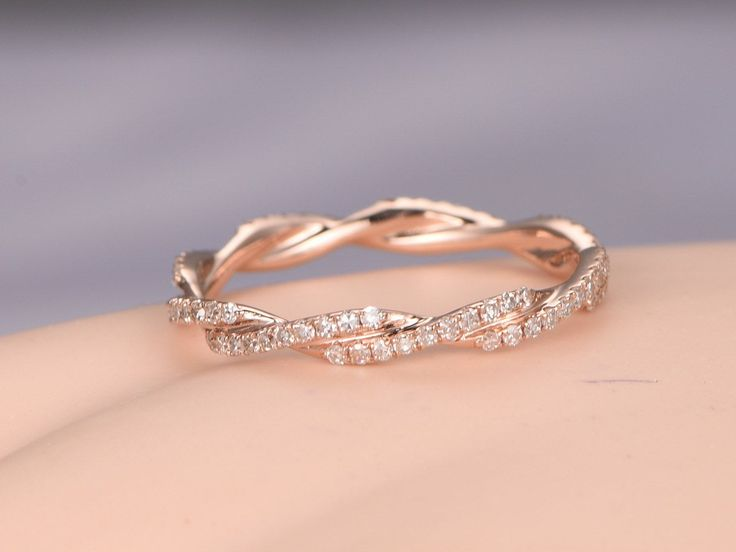 Twisted shape,Diamond wedding band 14k rose gold,FULL eternity ring,engagement ring,stacking matching band,anniversary ring,curved design
