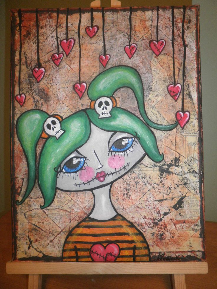 Dolly, mixed media paint over collage on  9' x 11.5' gallery wrapped canvas, by Jackie Peniuk