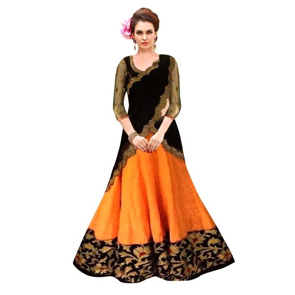 Buy Designer Yellow & Black Banglori Silk With Embroidery Work Semi-Stitched Lehenga Online at cheap prices from Shopkio.com: India`s best online shoping site