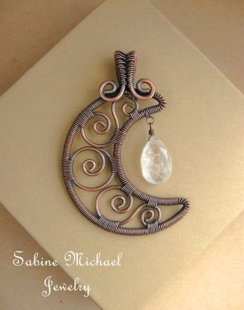 Copper Wire Wrapped Crescent Moon Pendant by Sabine Michael Jewelry on Jewelry Makers Journal. Frame-14, swirls-16, wraps-24. Use two blue/white opaque drops from NMC.