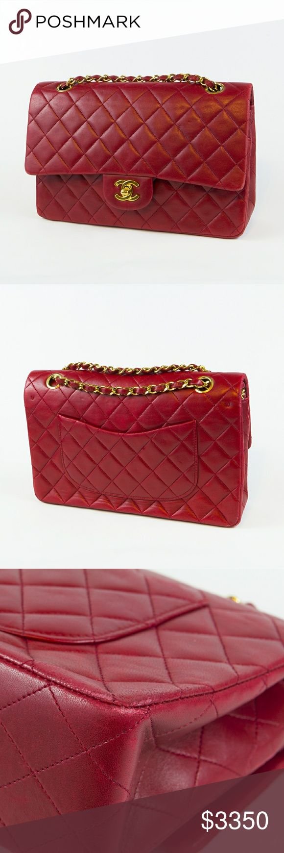 """Red Medium Classic Chanel Flap Bag Preloved medium Chanel Flap bag in a beautiful vermillion red. There is minor rubbing on the corners and some minor color fade, but as you can see it is still a beautiful bag. Great way to add a pop of color to any outfit. Will come with dustbag. Serial intact. 10""""×7"""" approximately.   For lower sales price please visit us at: www.luvreshop.bigcartel.com  Or for monthly payments, visit us at: www.tradesy.com/closet/luvre/ CHANEL Bags"""